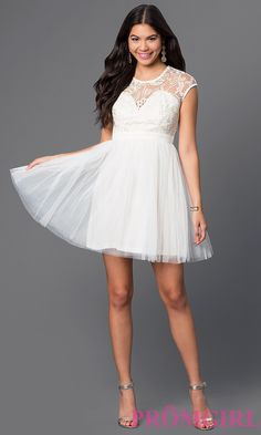 Short Illusion Sweetheart Cap Sleeve Dress Style: LP-23380