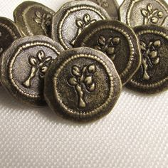 Bronze Tree  7/16 Metal Buttons  Set of 10 by SkeeterBitz on Etsy