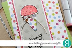 Card by Amy Kolling. Reverse Confetti stamp set and coordinating Confetti Cuts: Sno Awesome. RC 6x6 paper pad: Cheerful & Kind. Friendship card. Encouragement card. Birthday card. Congratulations card.