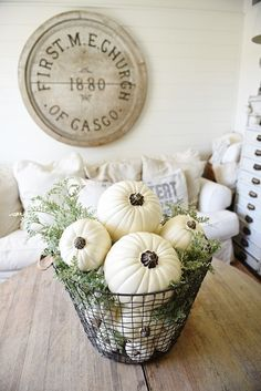 Farmhouse decor, fall decor, autumn decor, pumpkin decor, rustic, farmhouse, living room, dining room, family room, pumpkin wire basket, storage, couch, wall sign, farmhouse sign, round large sign, fa (Diy Storage Couch) Home Makeover Project Ideas | Project Difficulty: Simple | MaritimeVintage.com