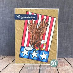 Hello from design team member, Heidi. I have a Patriotic Card to share today that I am using to congratulate a new Eagle Scout! Girl Scout Swap, Girl Scout Leader, Brownie Girl Scouts, Girl Scout Crafts, Eagle Scout, Flag Banners, Congratulations Card, Pearler Beads, Crafts For Girls