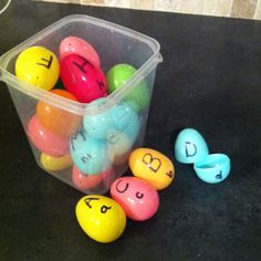 DIY easy Toddler letter game! I made these with Peyton today. She handed me the matching color egg top and bottom piece and watched me write the big and little letters. Now we can practice ;)