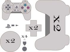 Playstation Plushie Pattern by on DeviantArt - Since I did the other gaming controllers I quickly drew this one for Playstation. Plushie Patterns, Felt Patterns, Craft Patterns, Video Game Cakes, Video Game Party, Video Games, Felt Gifts, Diy Gifts, Playstation Cake