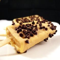 Peanut Butter and Banana Ice Pops with Mini Chocolate Chips