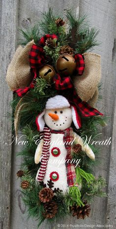 Snowman Jingle Bell Swag by NewEnglandWreath