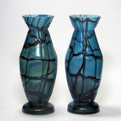 Pair of Pallme-König Glass Trailing Vases c1900