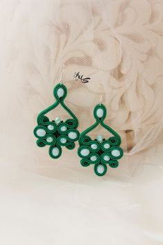 Green Bohemian Earrings Elegant Large Evening Crystal Earrings Soutache Handmade Jewelry Beaded Embroidered Casual Earrings Gift for Her Soutache earrings is made with soutache embroidery technique. Earrings: Total length: 7.5cm / 2.95 Total width: 4 cm / 1.57 The back is covered with leather. Earrings is finished, light and comfortable to wear,the owner will be able to enjoy its beauty for a long time after purchase. The item will be shipped in a nicely wrapped gift box. Thank you for v...
