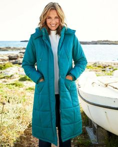 Womens Cotton Traders Long Padded Winter Coat Kingfisher Teal Size UK 18 EUR 46 #CottonTraders #Quilted #Casual Casual Coats For Women, Stylish Clothes For Women, Jackets For Women, Denim Shop, Winter Coat, Plus Size Outfits, Cotton, Shopping, Kingfisher