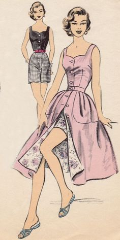 50s Vintage Advance Sewing Pattern 7098 Play Suit Sun Top Skirt Shorts 1955
