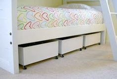 DIY under bed storage- love this idea.  I'm using this in all of the bedrooms! #kidsroomideasdiy