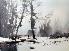Edward Seago (English, - trees in winter - watercolor Watercolor Landscape, Watercolor And Ink, Abstract Landscape, Landscape Paintings, Watercolour Paintings, Watercolors, Wow Art, Watercolor Techniques, Winter Landscape