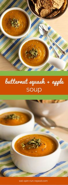 """Velvet Butternut Squash and Apple Soup - This soup is the answer to """"what's for lunch"""" on a cold day. Simple whole food ingredients, totally delish."""