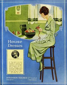 A lovely ad from 1920 for Prue cotton house dresses. #vintage #1920s #fashion