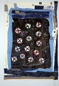 Helen Geglio (2014), The Lost Art of Mending 3: Constellation.  Cotton, linen, hand embroidered and stitched.