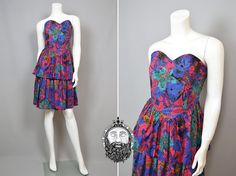Vintage 80s Party Dress Strapless Peplum Dress Womens Small S Wiggle Dress…