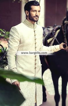 Decent Men's Sherwani Fairfax Maryland Jamawar Sherwani for Men M1097 Bright Shades