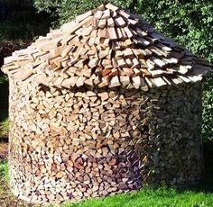 What a way to stack logs! Holz hausen a swedish method of seasoning fire wood.