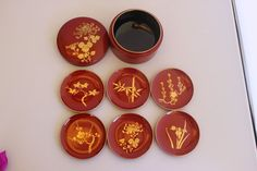 Vintage Antique Japanese red and gold laquerware by TwoCatsVintage, $34.00