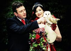 Ollie the owl flew down the aisle to Harry Potter theme to deliver the rings.. AMAZING! @Toni Sanchez