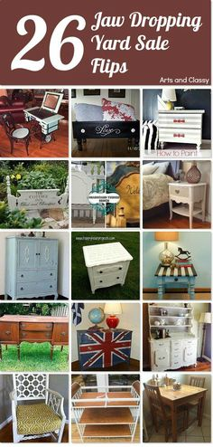 Yard sale flips that will make you FLIP! Curated group of amazing yard sale furniture finds that were given new life by some talented DIY-ers via www. Refurbished Furniture, Repurposed Furniture, Furniture Sale, Furniture Projects, Furniture Making, Furniture Makeover, Painted Furniture, Diy Projects, Thrift Store Furniture