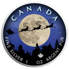 Christmas NIght - Maple Leaf 1 oz Pure Silver Coin - Canada 2018 Old Coins, Rare Coins, Maple Leaf, Canadian Coins, Christmas Night, 1 Oz, Silver Coins, Canada, Clock