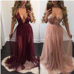 Aliexpress.com: Comprar Nuevo color de rosa color de los cordones gasa perspectiva profunda v vestido de la correa mujeres mesh dress vestidos de lentejuelas sueltas de dress bass fiable proveedores en Joyfunear Store