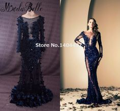 Aliexpress.com : Buy 2015 Ziad Nakad Elegant Long Evening Dresses With Sleeves Deep V Neck Gowns With Appliques Longos Vestidos De Noite from Reliable dress to suppliers on ModaBelle Bridal  | Alibaba Group