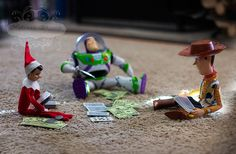 Elf Takes on Woody and Buzz Gambling with his Toy Story friends. Christmas Elf, All Things Christmas, Christmas Hanukkah, Christmas Ideas, Shelf Inspiration, Elf On The Self, Woody And Buzz, Naughty Elf, Santa's Little Helper