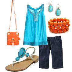 Blue and orange... with the dark jean capris I already have.           wonderful color combo!
