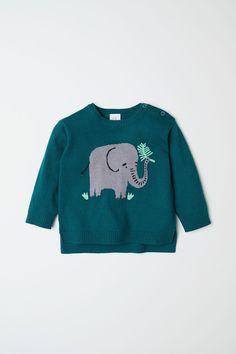 Jacquard-knit Sweater   Dark green/elephant   KIDS   H&M US