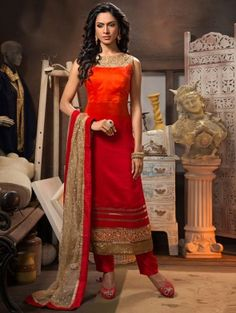 Red and Orange Silk Suit with Handwork