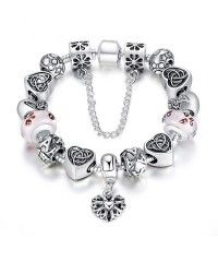 Antique Silver Heart Charm Bracelet