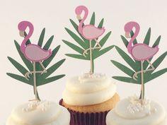 Flamingo Cupcake Topper -Tropical Theme Cupcake Topper- Luau Theme Party- Flamingo Picks-  Luau Decorations- Tropical Themed Party Decor