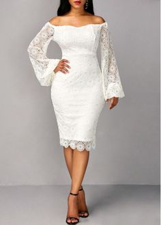 Long Sleeve White Off the Shoulder Sheath Dress | Rosewe.com - USD $35.78