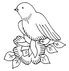 black and white coloring page -- bird in a nest