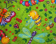 Green Happy Cartoon Bugs Fabric - Timeless Treasures