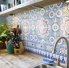 Love, love, love this tiled splash back for kitchen.