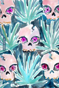 Daily Color #102: Skulls and Palmettos #barbraignatiev #skull #palmetto