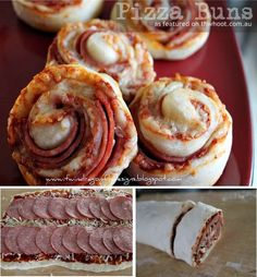 Pizza Buns Recipe ~ bread dough... pizza toppings.. roll up and bake. Voila'!  Looks good for parties, dinner on the go, ballpark, etc!
