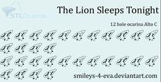 The Lion Sleeps Tonight 12 hole ocarina tablature by smileys-4-eva