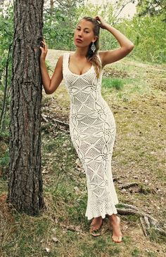 Ankle length body con crochet tank dress. Perfect for curvy girls.