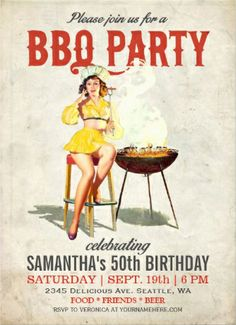 Vintage #bbq_party_invitations. Retro pin-up girl. Perfect for birthday bbqs.