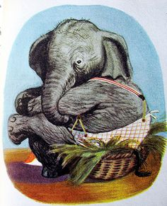 Elephant in a basket  From Animal Tales, by Feodor Rojankovsky, 1944.