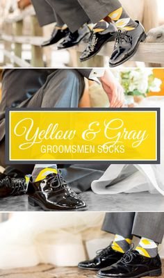 Don't forget to incorporate the proper details for your wedding party like yellow and gray groomsmen socks. A great match to golden yellow bridesmaid dresses, golden yellow argyle socks are a great wedding party or groomsmen gift. Shop these socks and more great yellow options. Photography by lisajoy-photography.com/