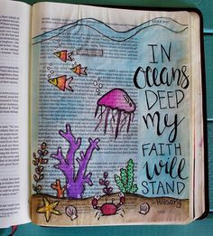 Up until recently I haven't felt led by the Holy Spirit to share my illustrated faith journey on social media. When I discovered Bible Journaling last September I was immediately intrigued. I became very passionate about spending time in His Word. Bible Drawing, Bible Doodling, Faith Bible, My Bible, Bible Verses About Music, Bible Scriptures, Scripture Art, Bible Art, Bible Verse Painting
