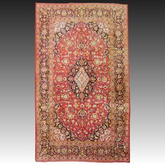 "Vintage Kashan Silk Rug WIDTH 55"" (140 cm) LENGTH 83"" (210 cm) early 3rd quarter 20th century"