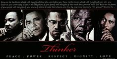 """Thinker 2"" by Michael Eaton. This is a larger version of the original and now features Malcolm X, Martin Luther King, Nelson Mandela, Bob Marley and Barack Obama."