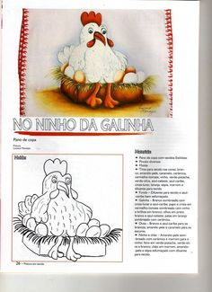 Vejam que coisa mais linda essa galinha pintada em um pano de prato (pano de copa)! Achei no Pinterest.