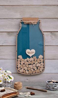Custom 3D wedding guest book Drop box alternative Mason Jar Drop box guest book Jar hearts Unique wedding wood Rustic wedding Wedding gift #weddings #guestbook