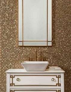 A textured tile feature wall is always a showstopper. This rich, burnished gold is so gorgeous!